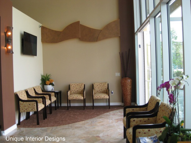 Custom Wall Features Balance The Height And Offer An Unusual Touch To Office Dental Design Reception Area